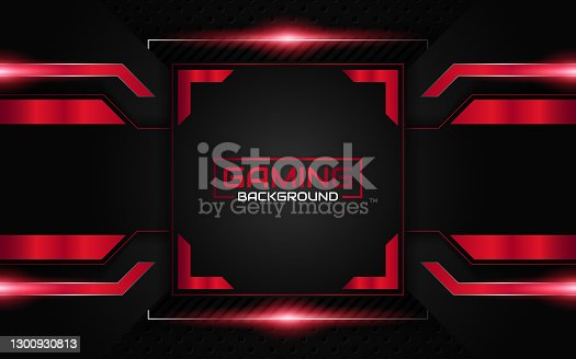 istock Abstract futuristic geometric black and red gaming background with modern esport shapes. Vector design template technology concept 1300930813