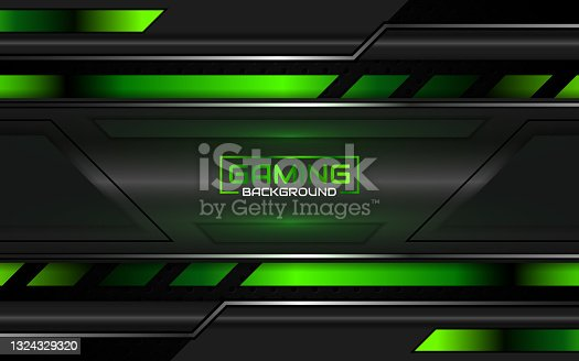 istock Abstract futuristic geometric green and red gaming background with modern esport shapes. Vector design template technology concept 1324329320