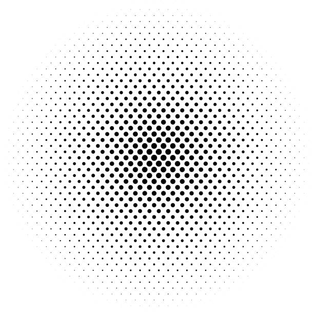 illustrazioni stock, clip art, cartoni animati e icone di tendenza di abstract futuristic halftone pattern. comic background. dotted backdrop with circles, dots, point large scale. design element for web banners, posters, cards, wallpapers, sites. black and white color - chiazzato