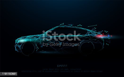 istock Abstract futuristic high speed sports car. Car logo form lines, triangles and particle style design. Illustration vector 1191152651