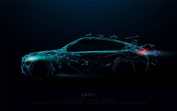 stockillustraties, clipart, cartoons en iconen met abstracte futuristische high speed sportwagen. auto logo vorm lijnen, driehoeken en particle style design. illustratie vector - motorvoertuig