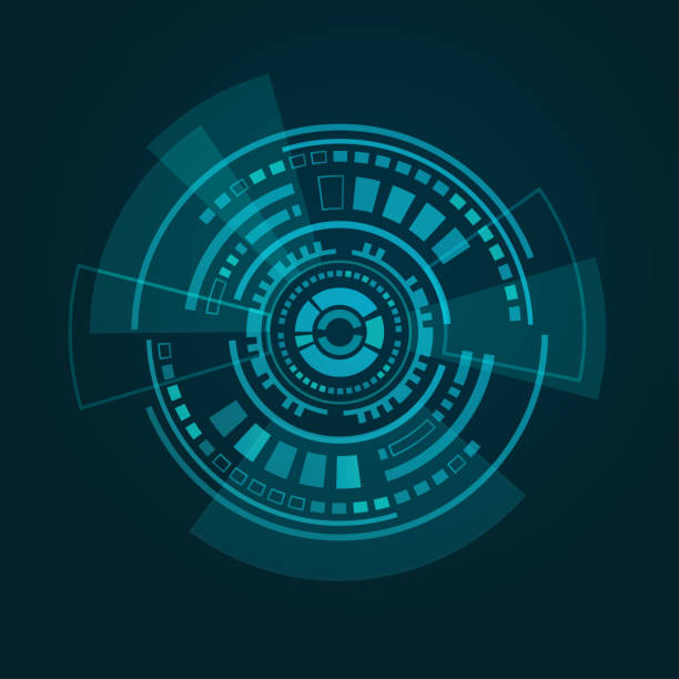 abstrakte futuristische hud-schnittstelle auf dunkelblauem gradient - dashboard, hintergrund, hell stock-grafiken, -clipart, -cartoons und -symbole