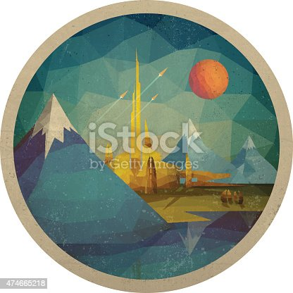 Abstract futuristic landscape of the triangles with the sun. Vector illustration.
