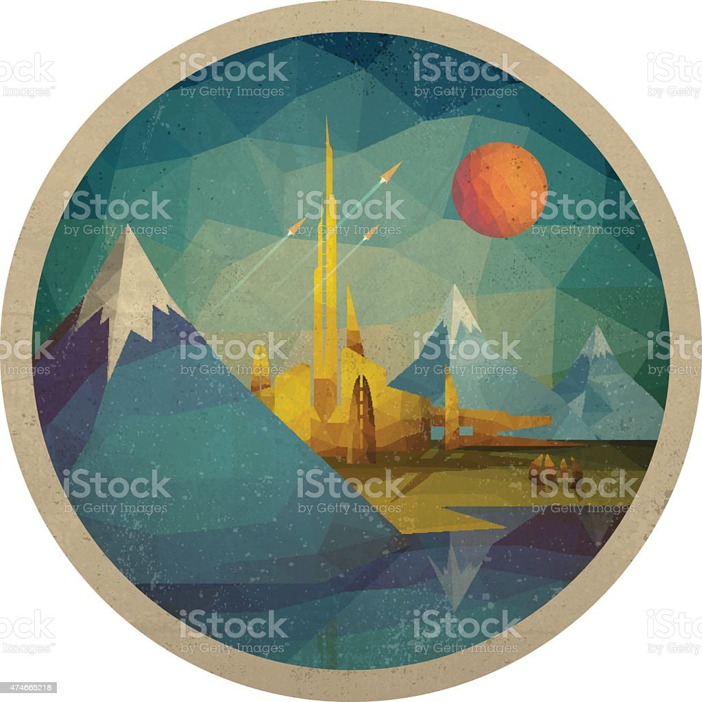Abstract Futuristic Landscape of Triangles vector art illustration