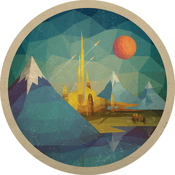 abstract futuristic landscape of triangles - vintage nature stock illustrations, clip art, cartoons, & icons