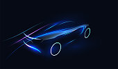 Abstract Futuristic Neon Glowing Concept Car Silhouette. Automotive template for your banner, wallpaper, marketing advertising. Vector eps 10 illustration.