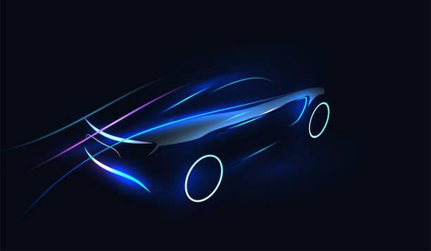 abstrakcyjna futurystyczna neonowa, świecąca koncepcyjna sylwetka samochodu. szablon motoryzacyjny do baneru, tapety, reklamy marketingowej. ilustracja wektorowa. - futurystyczny stock illustrations