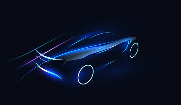 stockillustraties, clipart, cartoons en iconen met abstract futuristisch neon glowing concept auto silhouet. automotive template voor uw banner, behang, marketing reclame. vector illustratie. - motorvoertuig