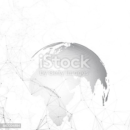 801051868istockphoto Abstract futuristic network shapes. High tech background, connecting lines and dots, polygonal linear texture. World globe on white. Global network connections, geometric design, dig data concept 682004894