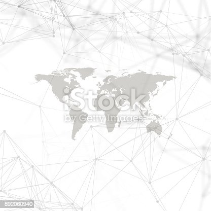 istock Abstract futuristic network shapes. High tech background, connecting lines and dots, polygonal linear texture. World map on white. Global network connections, geometric design, dig data concept 892060940