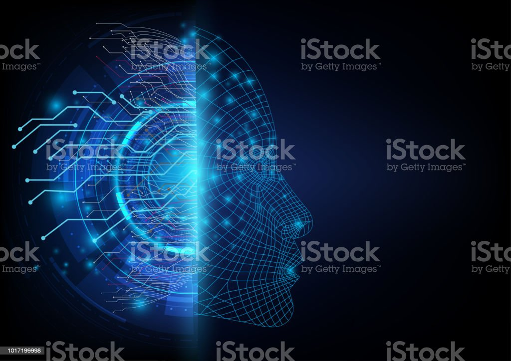 Abstract futuristic on the two sides between a digital communication of neural network and an artificial intelligence robotic face.