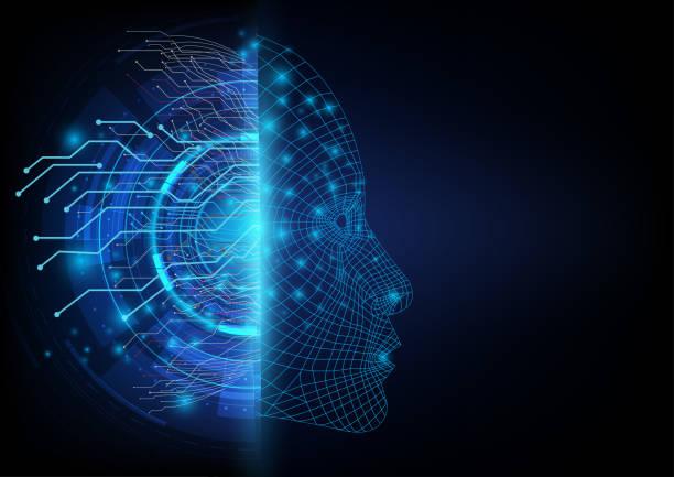 abstrakcyjny futurystyczny po obu stronach między cyfrową komunikacją sieci neuronowej a sztuczną inteligencją zrobotyzowaną twarzą. - inteligencja stock illustrations