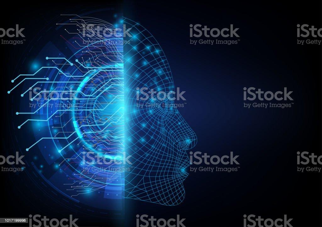 Resumen futurista en los dos lados entre una comunicación digital de la red neuronal y una cara robótica inteligencia artificial. - ilustración de arte vectorial
