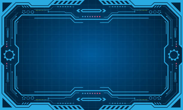 Abstract Futuristic Presentation Panel (Frame), Technology Display Abstract Futuristic Presentation Panel (Frame), Technology Display - Illustration Vector projection screen stock illustrations