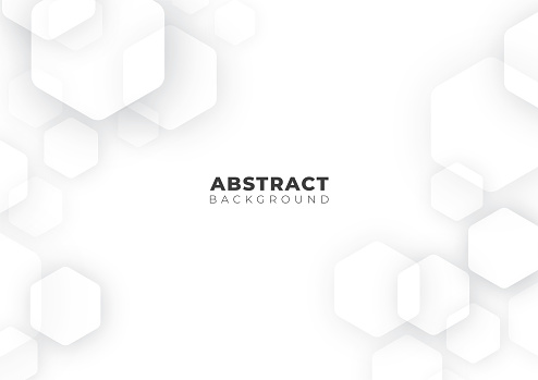 Abstract Futuristic Science, Business, Health and Technology Geometric Hexagon Shape White Background Texture, Vector Illustration with Copy Space