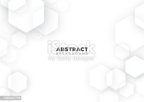 istock Abstract Futuristic Science, Business, Health and Technology Geometric Hexagon Shape White Background Texture, Vector Illustration with Copy Space 1263932733