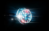 Abstract Futuristic Technology Background Clock concept and Time Machine, vector