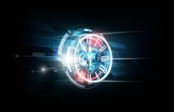 Abstract Futuristic Technology Background Clock concept and Time Machine, vector vector art illustration