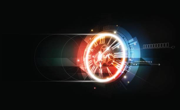 Abstract Futuristic Technology Background, Clock concept, Time Machine, vector transparent vector art illustration