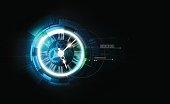 抽象的な未来技術背景、時計の概念、タイムマシン、ベクトル透明