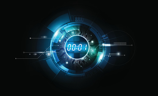 Abstract Futuristic Technology Background, Digital number timer concept, vector transparent