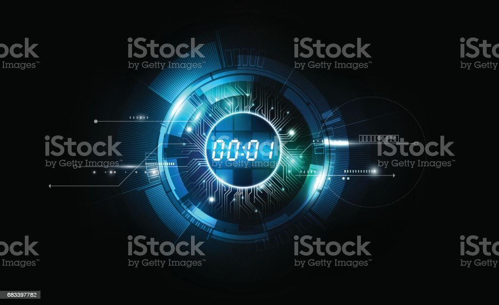 Abstract Futuristic Technology Background, Digital number timer concept, vector transparent vector art illustration