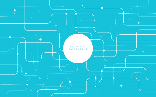 Abstract futuristic technology background light blue color curved lines, dots with copy space. Simple and minimal pastel striped line template. Flat design. Vector illustration