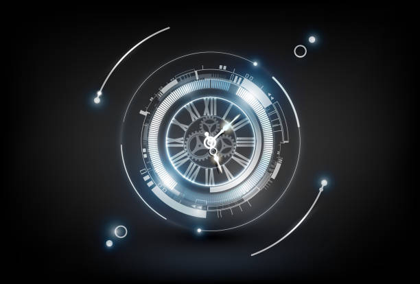 Abstract Futuristic Technology Background with Clock concept and Time Machine vector art illustration