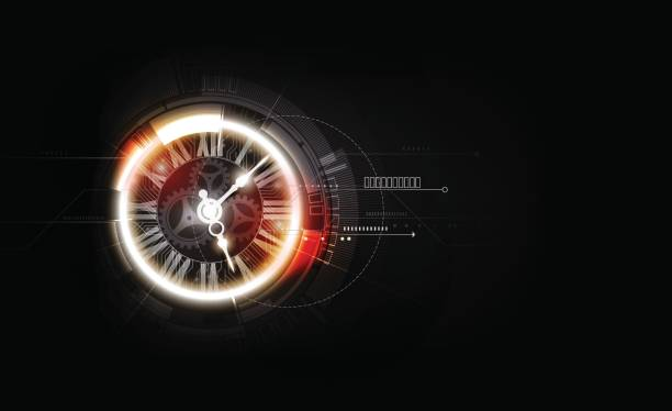 Abstract Futuristic Technology Background with Clock concept, Time Machine, vector vector art illustration