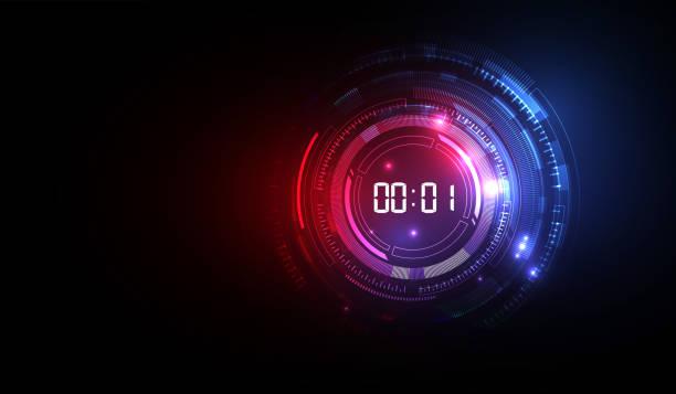 illustrations, cliparts, dessins animés et icônes de abstrait de technologie futuriste avec digital numéro minuterie concept et compte à rebours, vecteur transparente - horlogerie