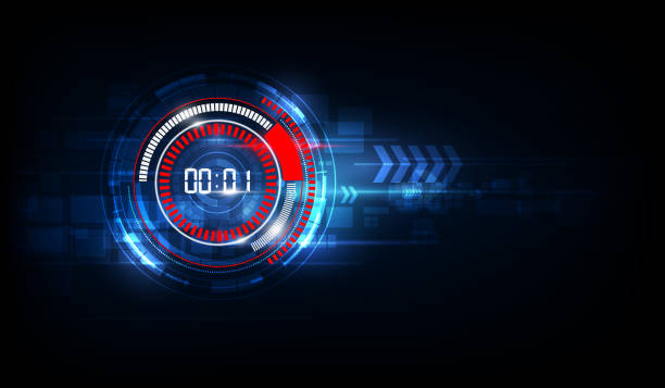 Abstract Futuristic Technology Background with Digital number timer concept and countdown, vector transparent vector art illustration