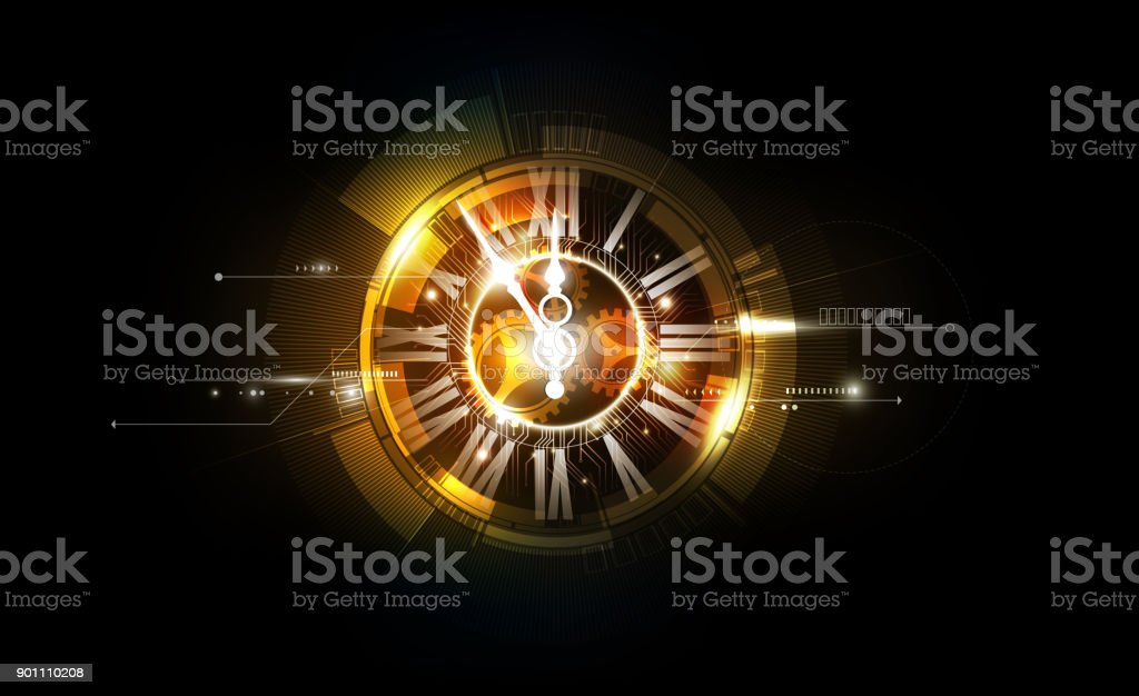 Abstract Futuristic Technology Clock concept and Time Machine, vector illustration vector art illustration
