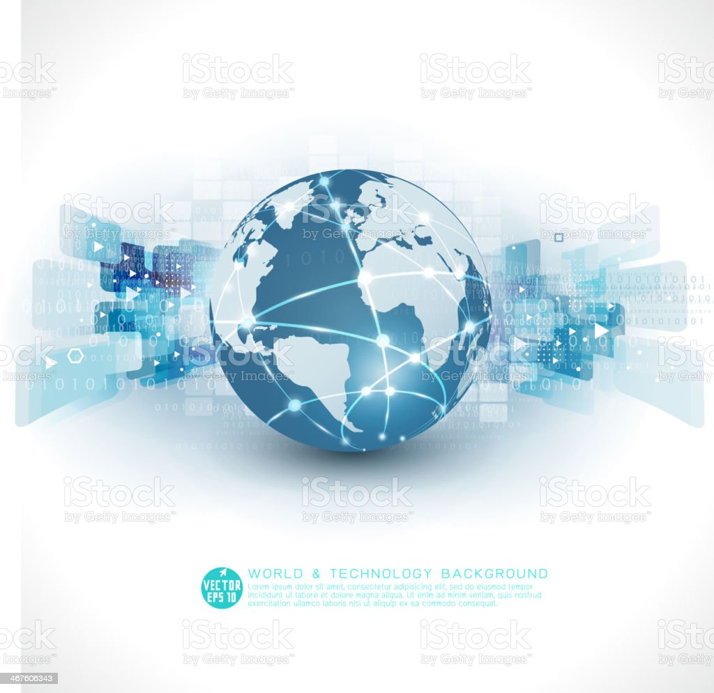 Abstract futuristic world & technology business background, vector illustration vector art illustration