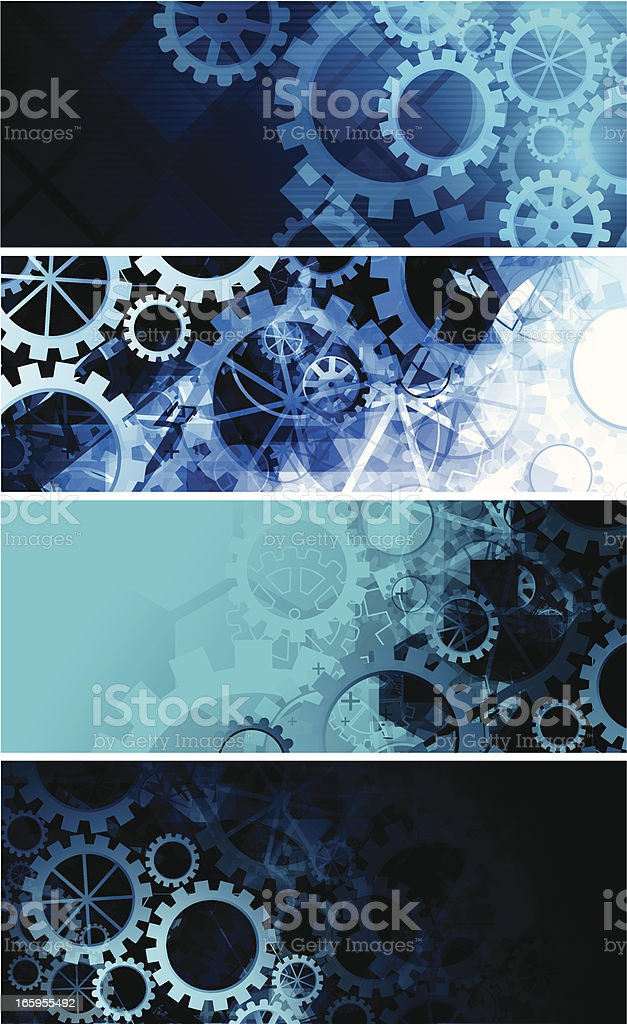 Abstract gears banners vector art illustration