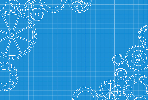 Abstract gears blueprint background