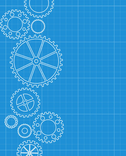 Abstract gears blueprint background Abstract gears blueprint background gearshift stock illustrations