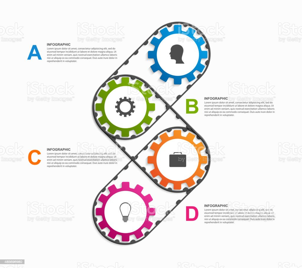 Abstract gears infographic. Design element. vector art illustration