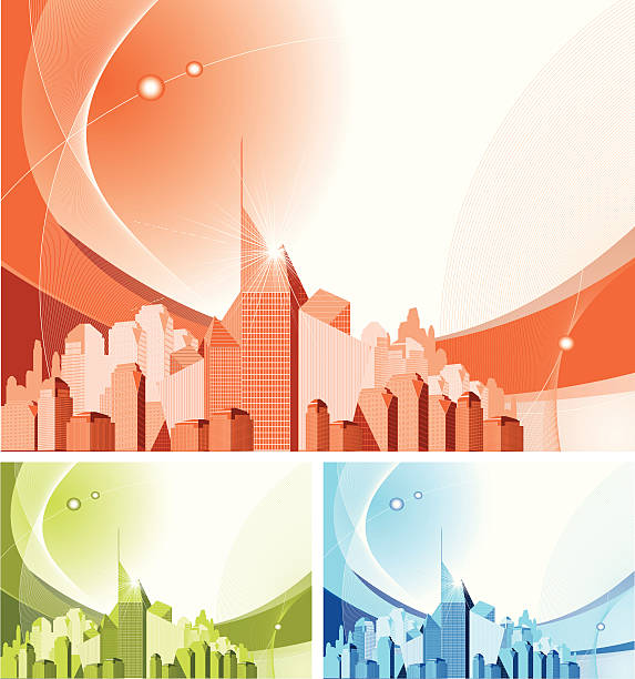 Abstract Generic Downtown. Set of Three vector art illustration