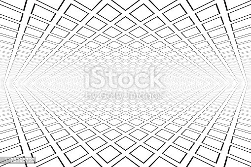 Abstract geometric architectural background. Perspective view. Vector art.