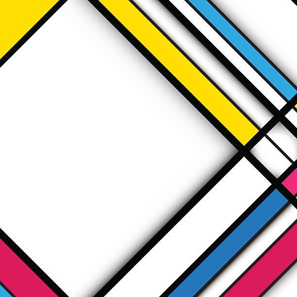abstrakte geometrische hintergrund. kubismus-stil konzept-design - bauhaus stock-grafiken, -clipart, -cartoons und -symbole