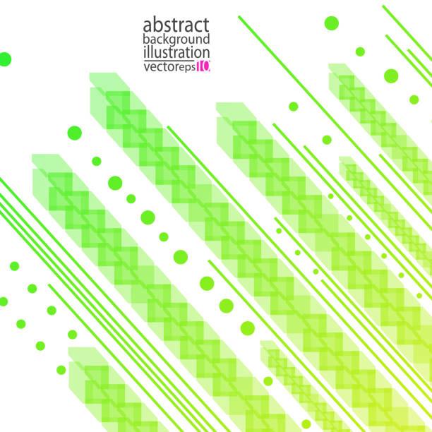從圓線和形狀的條紋提取幾何背景綠黃色向量向量藝術插圖