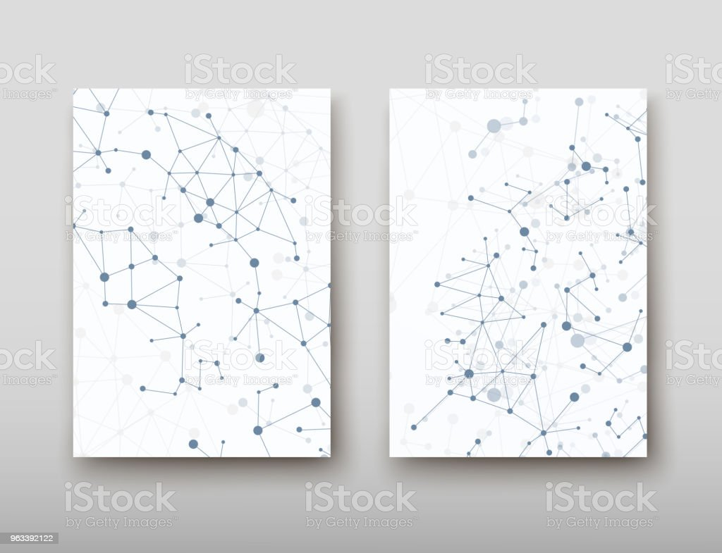 DNA abstract geometric background, layout in A4 set technology brochure flyer design template vector shadow - Grafika wektorowa royalty-free (Abstrakcja)