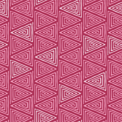 Abstract geometric background of triangles. Vector red seamless pattern.