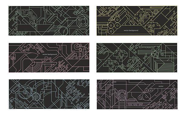 Abstract geometric background set. vector art illustration
