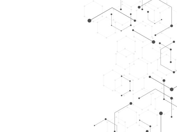 abstrakcyjne tło geometryczne - sieć komputerowa stock illustrations