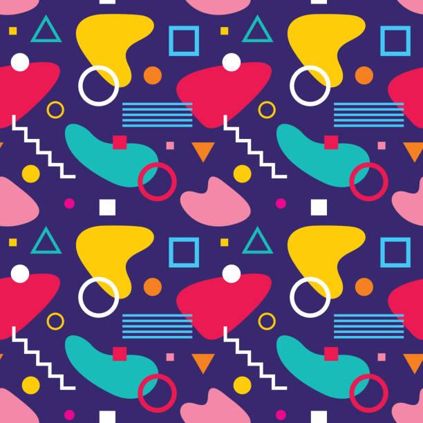 abstrakte geometrische hintergrund vektor nahtlose muster in mode retro-stil von memphis italienischen design-gruppe 80er jahre für stoff, papierdruck und website-hintergrund. - splash grafiken stock-grafiken, -clipart, -cartoons und -symbole