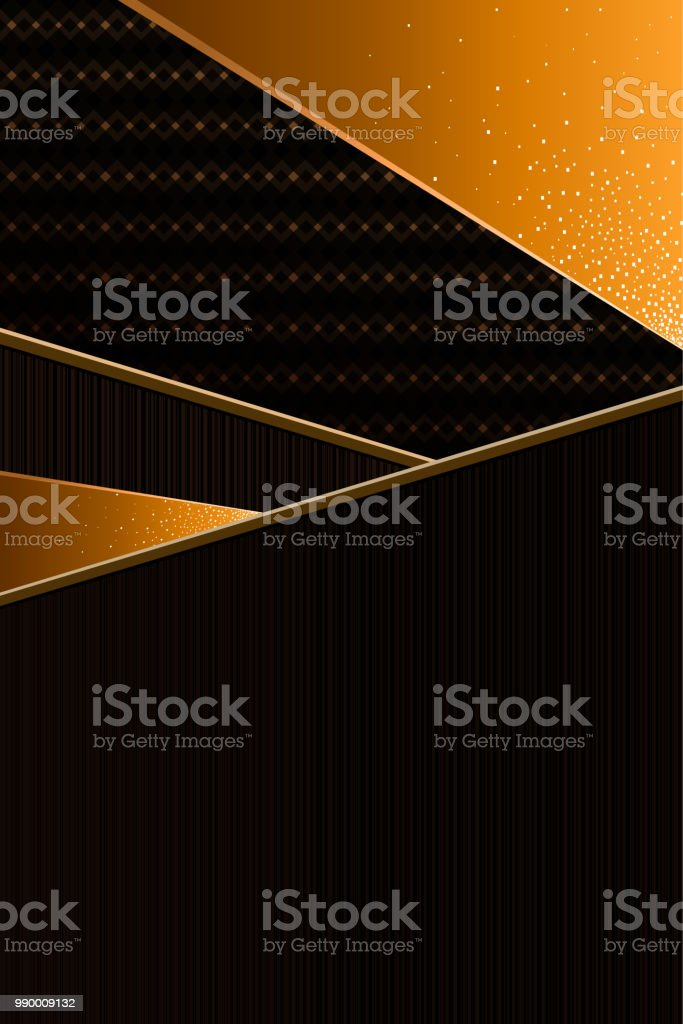 abstract geometric background, vertical, black and orange vector art illustration