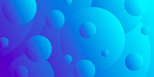 Modern and trendy abstract background with gradient color circles. This illustration can be used for your design, with space for your text (colors used: Blue, Purple). Vector Illustration (EPS10, well layered and grouped), wide format (2:1). Easy to edit, manipulate, resize or colorize.