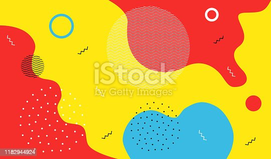 Abstract art background, with colorful liquid splash style shapes and wave pattern, scattered lines and dotted elements.