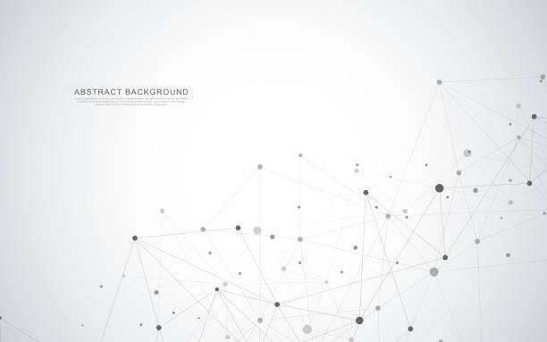 ilustrações, clipart, desenhos animados e ícones de abstrato geométrico com pontos e linhas de conexão - organic shapes